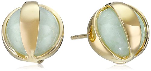 18k Yellow Gold Over Sterling Silver Green Jade Post Stud Earrings - Gold Over Silver Green
