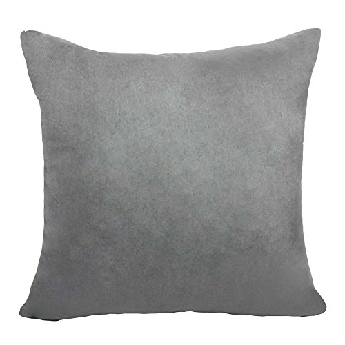 Arlumi Faux Suede Square Home Decorative Throw Pillow Case Cushion Cover with Hidden Zipper,Grey 16