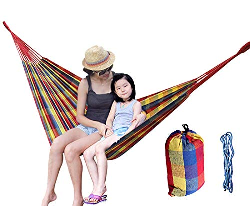 Non-Branded Portable Hammock for Outdoor Courtyard Tree Sack Creation Hiking Camping or Kids Playing in Garden, High-Density Cotton Canvas 100 x 39 inches with Straps for Single Person (Plaid)