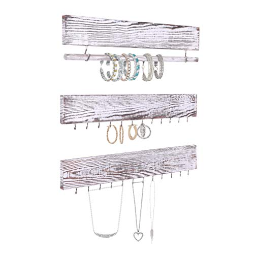 Rustic Jewelry Display Organizer for Wall  Wall Mounted Jewelry Holder Organizer with Removable Bracelet Rod and 24 Hooks  Perfect Earrings, Necklaces and Bracelets Holder  Vintage Jewelry Display