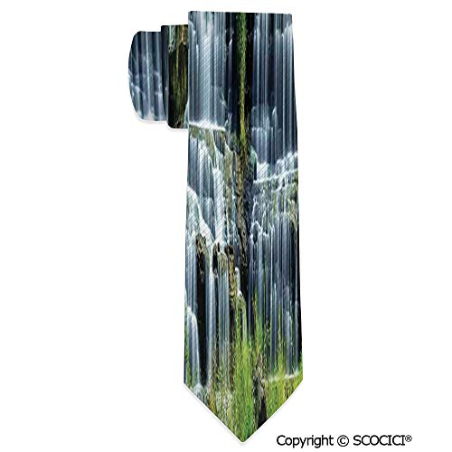 Jung Tropical Print - Polyester Tie Waterfall In The Middle Of Tropical Jung for Special Event,Party