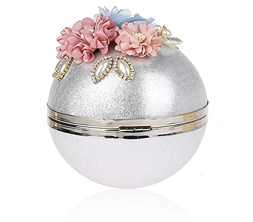 with Shape Silver Black Shoulder Party Banquet 14cm Buckle Metallic Flowers Ladies Polyester Bag EDLUX for Ball Round Handbag Women Diameter and Bag Evening BqwtnIRP