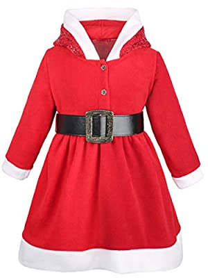 Lilax Little Girls' Holiday Christmas Santa Sparkle Hood Red Dress with Belt