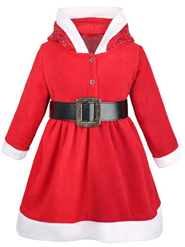 Lilax Little Girls' Holiday Christmas Santa Sparkle Hood Red Dress with Belt 5T -