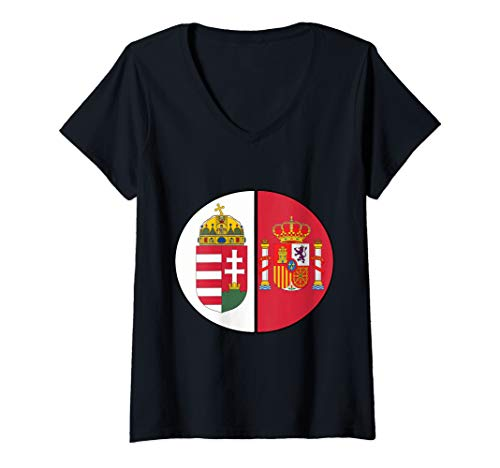 Womens National Crests for Both Spanish and Hungarian Roots V-Neck T-Shirt