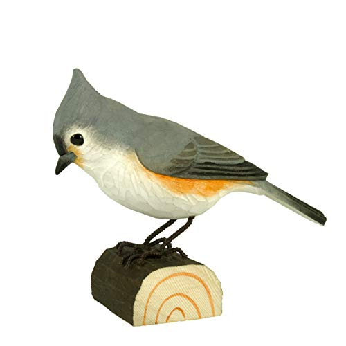 WILDLIFEGARDEN Tufted Titmouse DecoBird, Hand-Carved Wood Replica for Indoor or Outdoor Use, Artisanal Life-Like Figurine Designed in Sweden