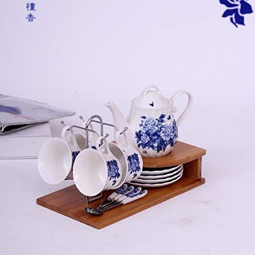 Sugar Pot For Coffee and Tea Chinese Blue And White Bone China Coffee Cup 4 Disc Set 4