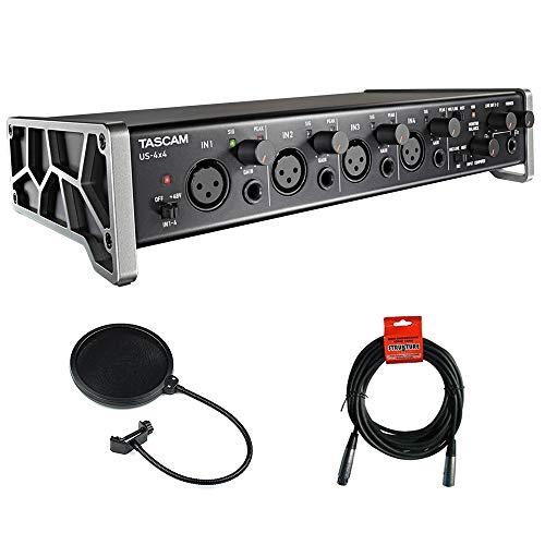 Tascam US-4x4 4-Channel USB Audio Interface with XLR-XLR Cable & Pop Filter Bundle