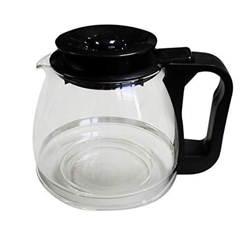 Tecnhogar 00566 - Jarra conica universal para cafetera con tapa regulable altura, transparente/negro, capacidad