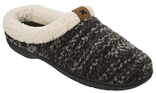 Dearfoams Womens Clog With Tab and Stitch Detail Memory Foam Slipper Black wUtWS