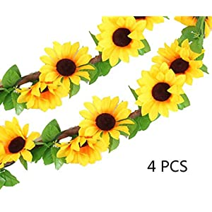 "Healthcom Artificial Sunflower Silk Flowers, 4 Pcs 102"" Outdoor Fake Hanging Plants Hang Garland Porch Patio Arch Balcony Basket Garden Party Wedding Decorations 49"