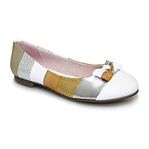 SAPPHIRE Damen Slipper bequeme Schleife vorne, mehrfarbig gestreift, Damen Flache Schuhe, flacher Absatz Multi Gold