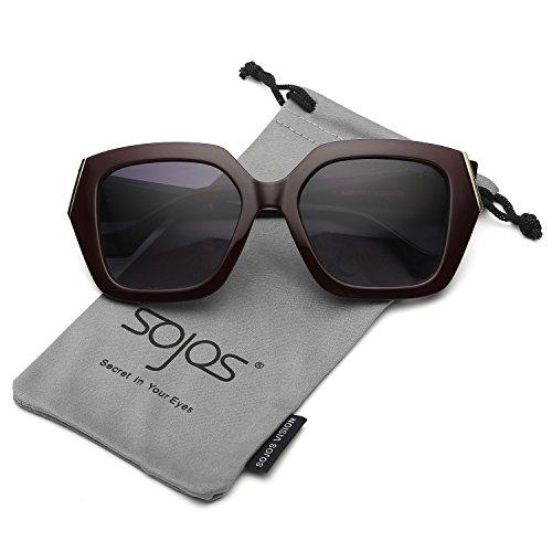 SojoS Womens Unique Big Huge Frame Oversized Squared Fashion Sunglasses SJ2029 With Dark Red Frame/Grey Lens