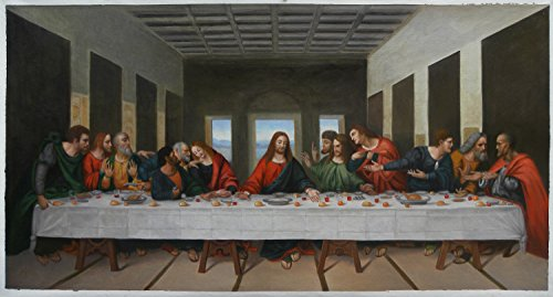 The Last Supper - Leonardo da Vinci hand-painted oil painting reproduction, Jesus with His Disciples,Church Large Wall Art Decoration Canva (26 x 50.5 in.)