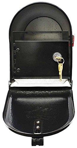 (Qualarc E1-MLBX-LKIT-BLK Rust Proof Galvanized Mailbox with Locking Insert, Steel Latch and Red Aluminum Flag, Black)