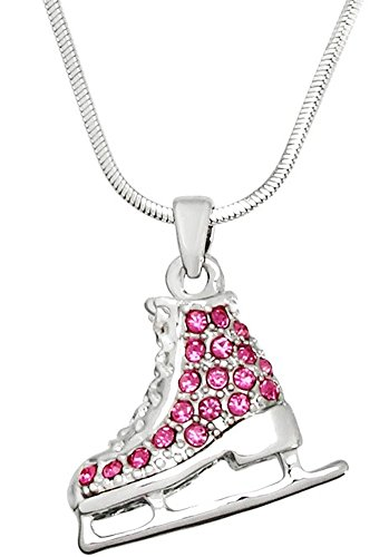 Cute Small Silver Tone 3D Ice Skate Figure Skater Crystal Reversible Pendant Necklace for Girls Teens Women (Pink)