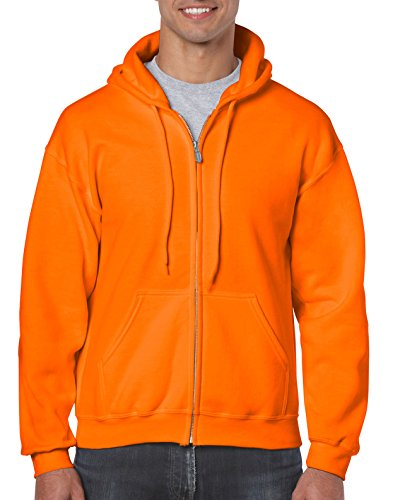 Gildan Men's Fleece Zip Hooded Sweatshirt Safety Orange Large -