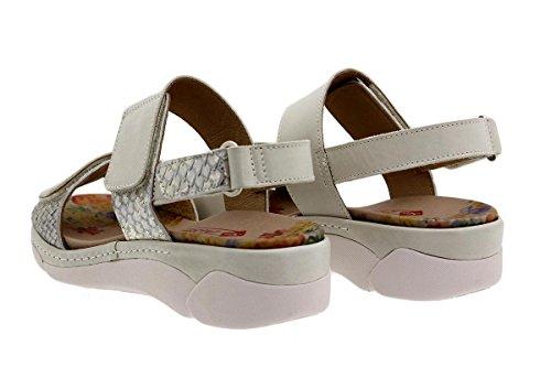 PieSanto Calzado Mujer Confort de Piel 1503 Sandalia Plantilla Extraíble Cómodo Ancho Blanco