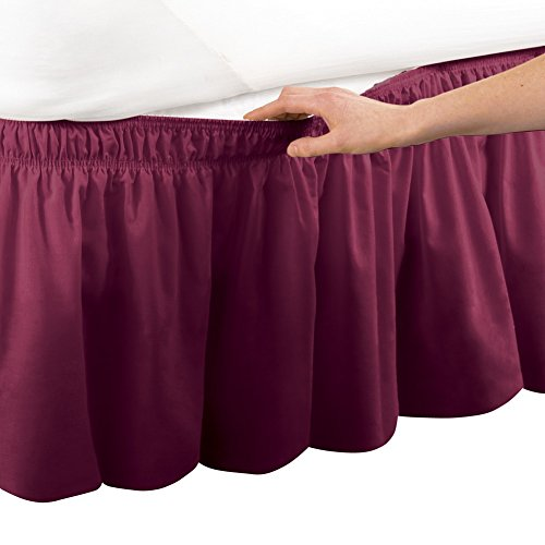 Collections Etc Wrap Around Bed Skirt, Easy Fit Elastic Dust Ruffle, Burgundy, Queen/King