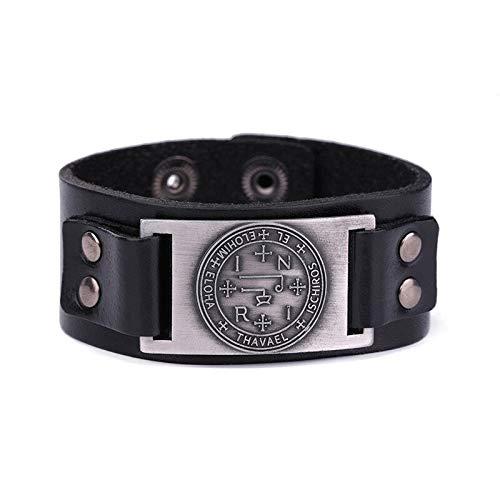 LTTA of Bangles Unisex Wristband Quality - Metal Color:Black Leather Sliver