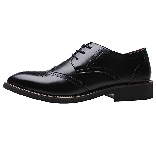 Rismart Brittisk Stil Mens Mode Pekade Tå Oxfords Brogue Klänning Läderskor Svart 856 Us7.5