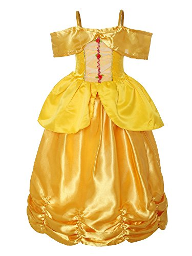 Sleeveless Costumes (ReliBeauty Little Girls Princess Belle Costume Sleeveless Layered Dress up, Yellow, 5)