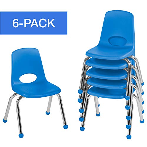 "ECR4Kids 12"" School Stack Chair, Chrome Legs with Ball Glides, Blue (Pack of 6)"