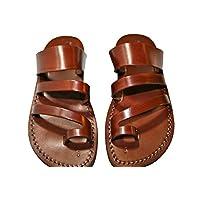 Sandalias de cuero para hombres y mujeres (Double Roman Design) - Sandalias unisex hechas a mano, Sandalias de chancletas, Sandalias de Jesus, sandalias de cuero genuino de SANDALI