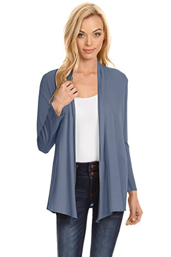 Womens Open Drape Cardigan Reg and Plus Size Cardigan Sweater Long Sleeves - USA (Size Large, Chambray) ()