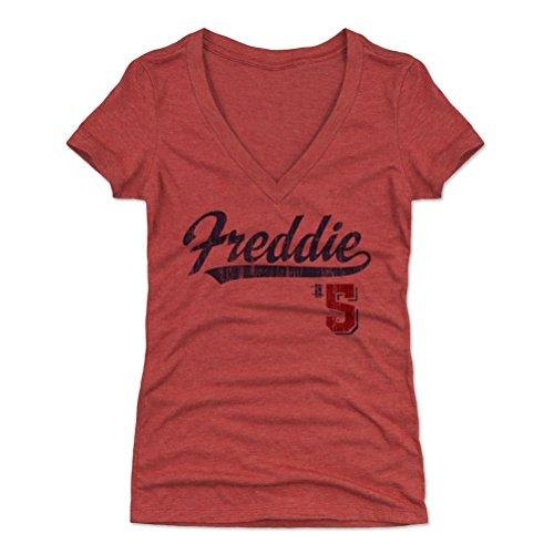 500 LEVEL Freddie Freeman Women's V-Neck Shirt XX-Large Tri Red - Atlanta Baseball Women's Apparel - Freddie Freeman Players Weekend B