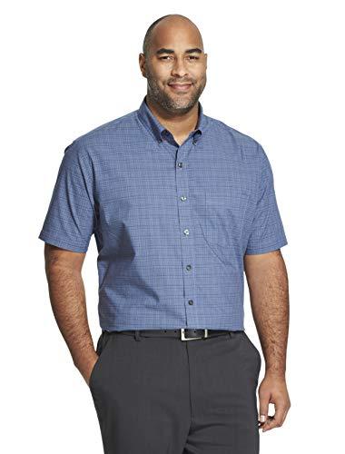 Van Heusen Men's Big and Tall Flex Short Sleeve Button Down Check Shirt, blue Underground, 2X-Large Tall ()