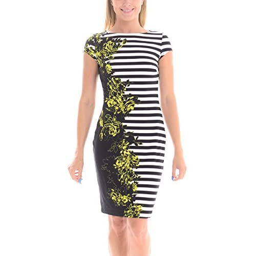 New Cache Women's OP Art Floral Print, Black and White Striped Dress for sale