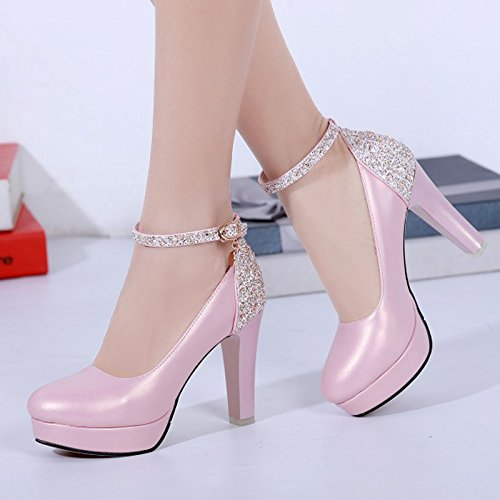 KHSKX-Color Impermeable Zapatos Zapatos De Moda Hebilla Nueva Palabra Coreana Rough Documental Todo Partido Ronda Zapatos De MujerTreinta Y SietePink
