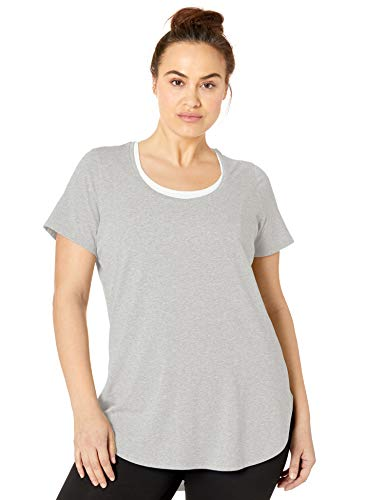 - Core 10 Women's Plus Size Pima Cotton-Blend Short Sleeve Yoga Tunic, Light Heather Grey Plus, 2X