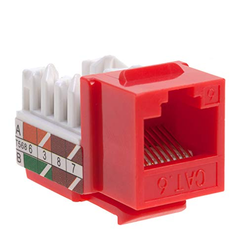 Cat6 RJ45 Keystone Jack Punch-Down Network Red (30)