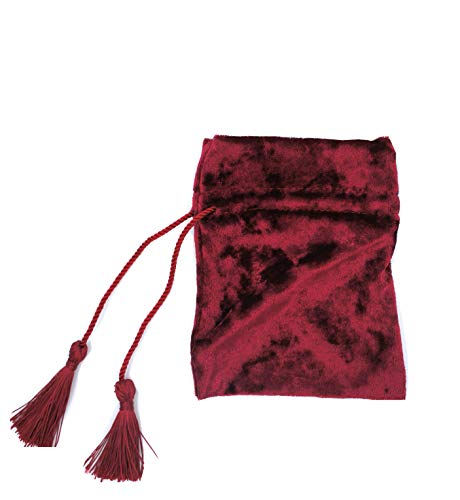 (5PCS Tassel-Drawstring Velvet Pouches in Different Colors for Gift, Coin, Lipstick, Mirror, Jewelry (Burgundy)