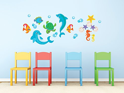 Sunny Decals Dolphin Fabric Wall Decals, Jumbo (Shape Polyester Decal)
