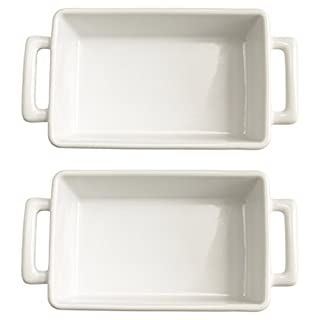 HIC Harold Import Co White Porcelain 8.5 x 5.5 Inch Individual Lasagna Pan, Set of 2 (B0186DIC5M) | Amazon price tracker / tracking, Amazon price history charts, Amazon price watches, Amazon price drop alerts