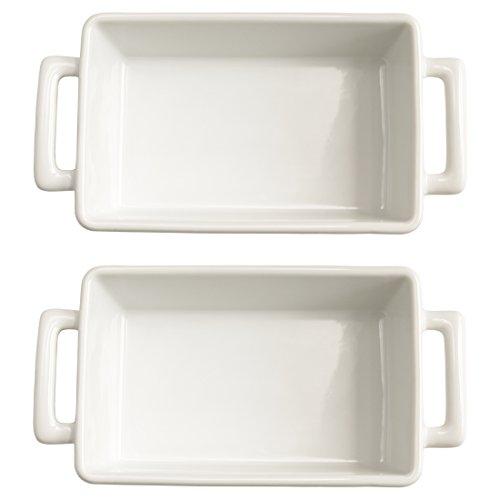 HIC Harold Import Co White Porcelain 8.5 x 5.5 Inch Individual Lasagna Pan, Set of 2