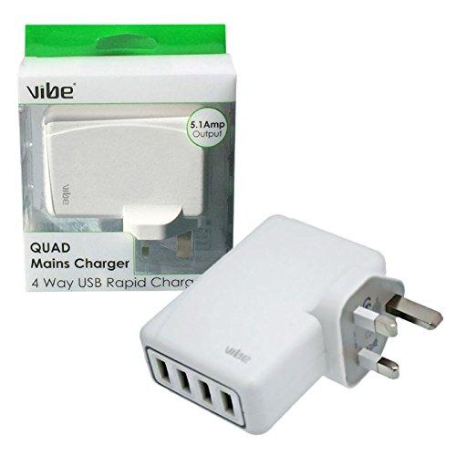 Vibe Rapid Quad 4 puertos Cargador de red USB 5.1 Amp ...