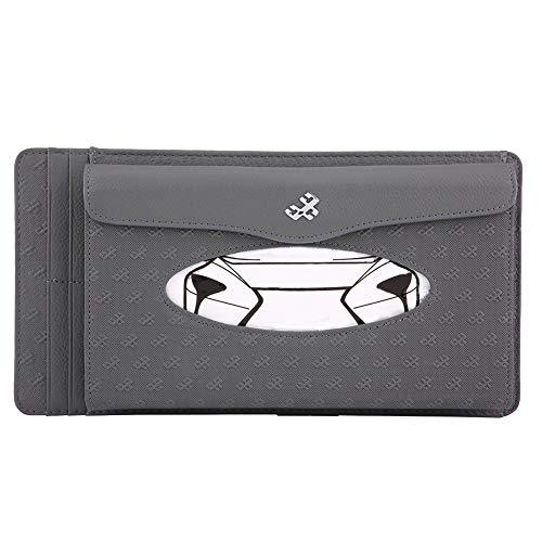 (KIMISS Universal Car Sun Visor Synthetic Leather Hanging Tissue Towel Box Napkin Card Holder Storage Box(Gray))