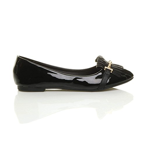 Damen Flach Quaste Franse Ballerina Arbeit Schule Pumps Klassisch Schuhe Größe Schwarz Lackleder