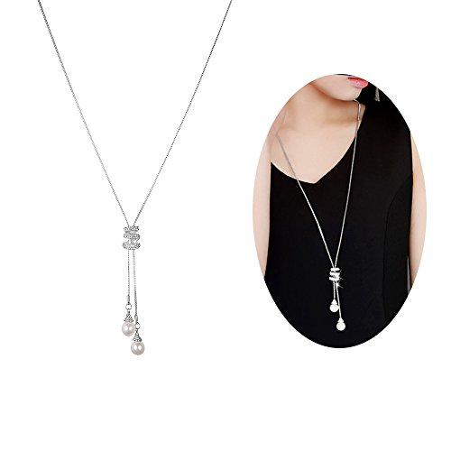 Cleacloud Pearl Rhinestone Pendant Long Necklace Women Crystal Pendant Girls Tassel Layered Chain Charms Jewelry Silver (Pearl Chain Necklace Long)
