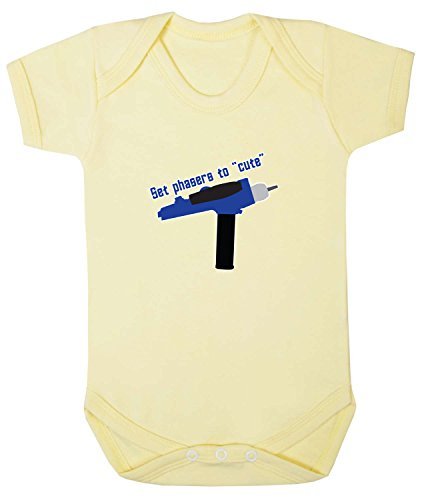(Badass Babies Unisex Baby Set Phasers To Cute Babygrow 18-24 Months Pale Yellow)