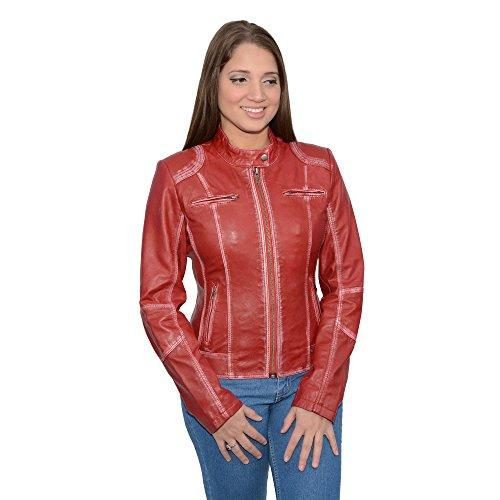 (Milwaukee Leather Women's Sheepskin Scuba Style Moto Jacket Red X-Large)