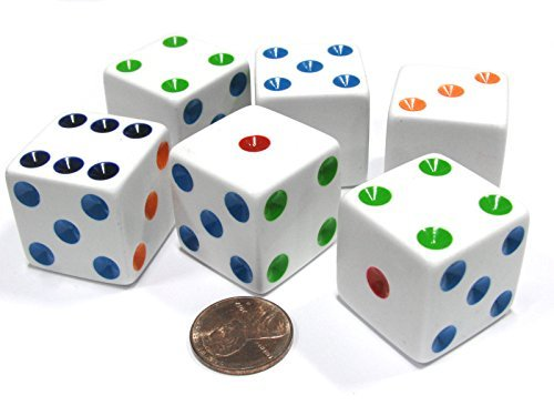 Jumbo Dice Set - Set of 6 D6 25mm Large Opaque Jumbo Dice - White with Multicolor Pip by Koplow Games