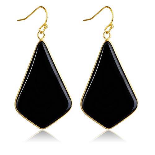 Stone Crystal Dangle Drop Earrings Teardrop/Oval Stylish Jewelry for Women Ladies Girls (Black Agate(Rhombus))
