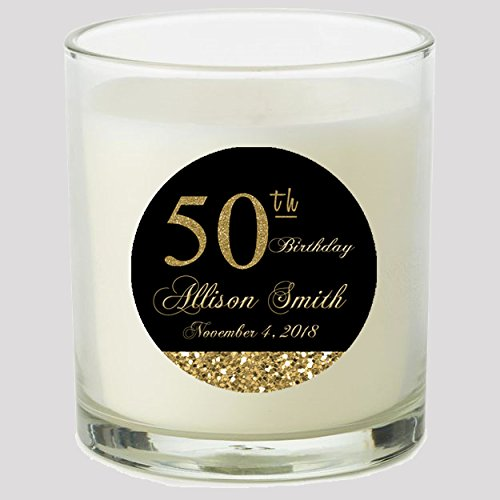 Cupcake Candle Favors - 50th Birthday Black and Gold 2
