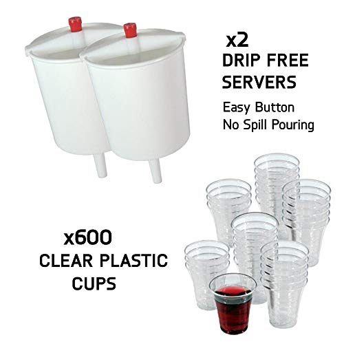 VALUE PACK - 600 Church Communion Cups with Two Wine Cup Fillers - Church Supplies - Fits Service Tray - 12 Oz Wine Dispensers - Convenient Time Saver