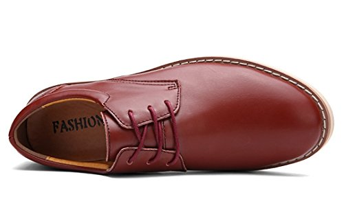 TDA Mens New Simple All Match Lace Up Leather Rubber Sole Non-slip Driving Business Penny Oxfords Shoes Wind Red Jv8VI